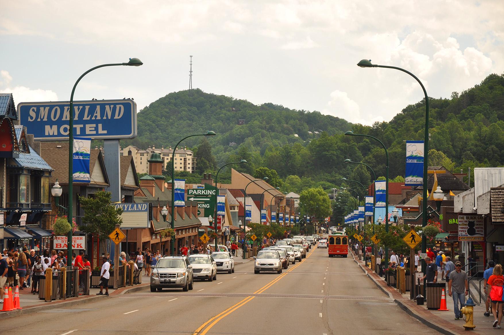 downtown Gatlinburg TN in summer