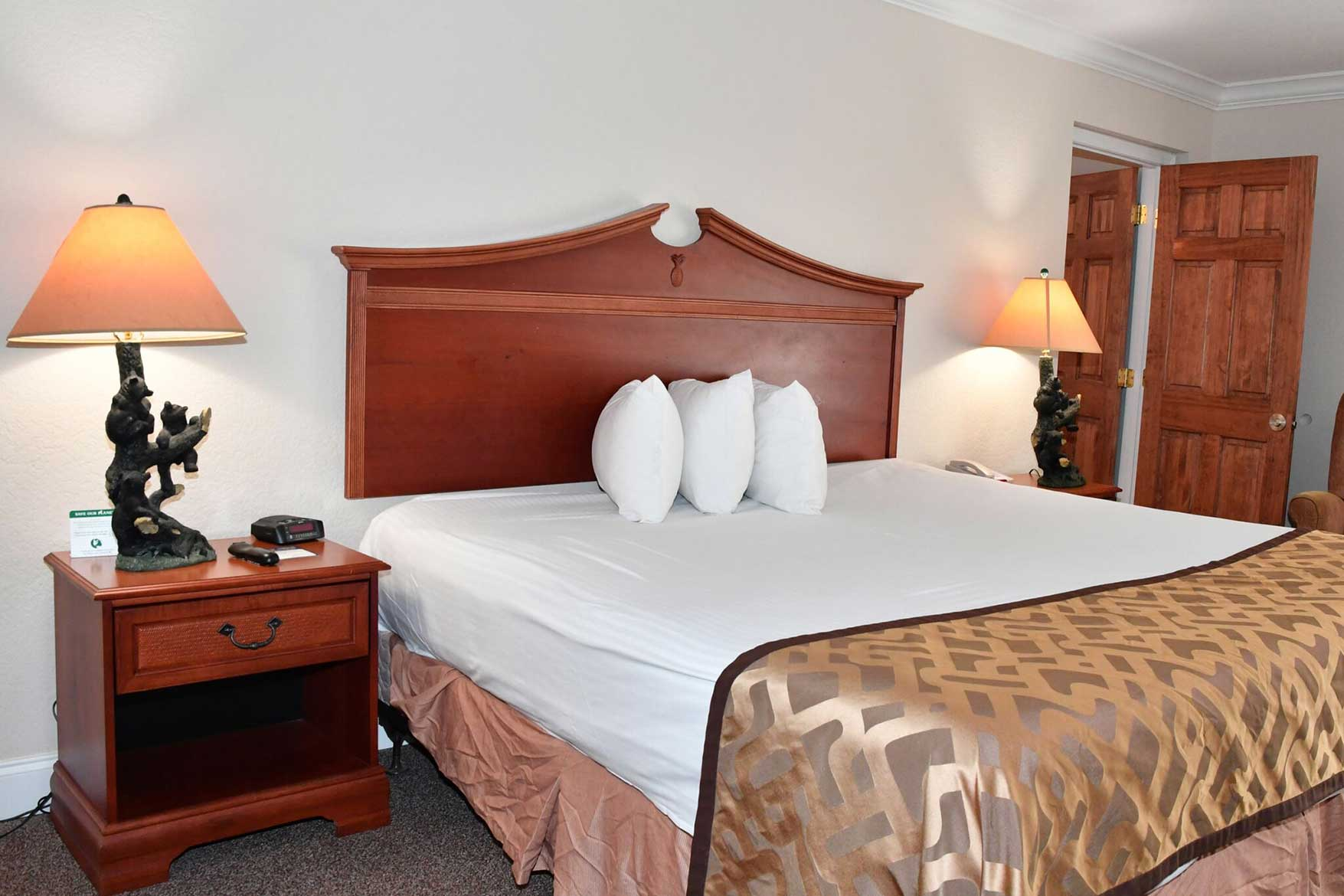 comfortable king bed in downtown Gatlinburg hotel
