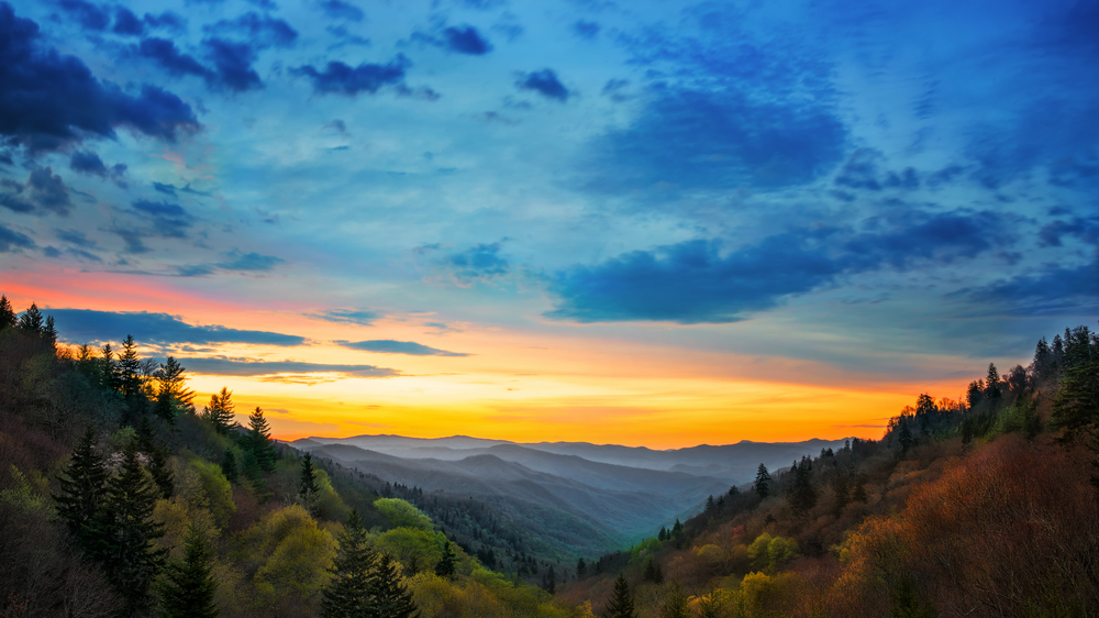 stunning photo of colorful sunset in Smoky Mountains