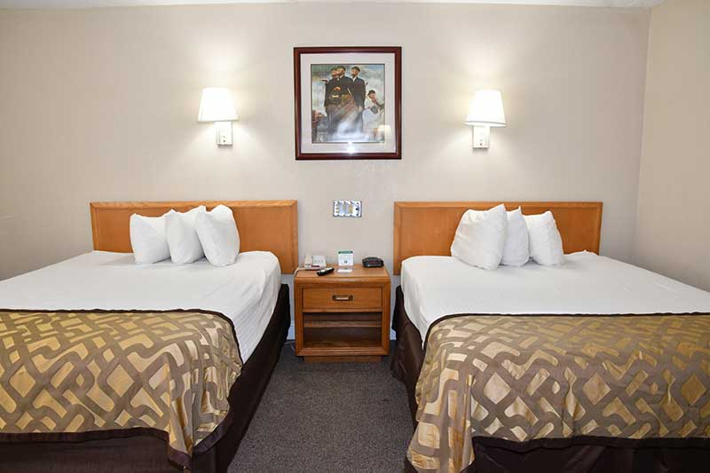 two double beds in hotel room in downtown Gatlinburg Tn