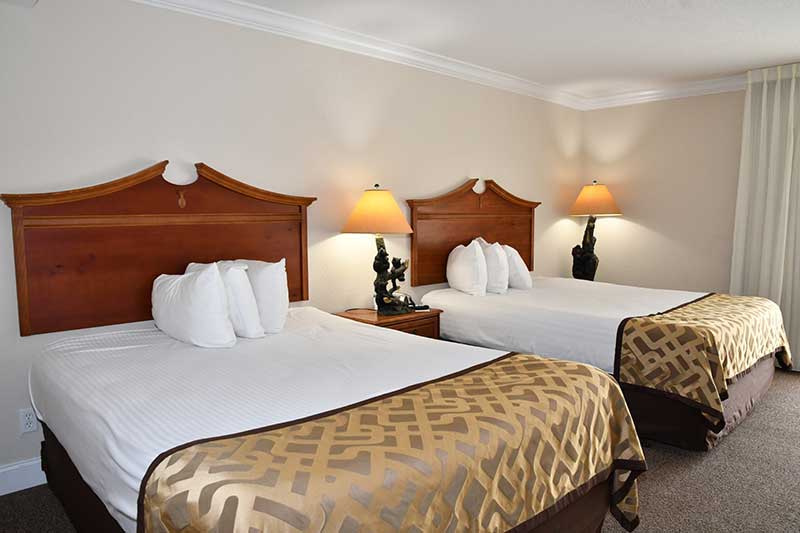 spacious room with two queen beds at hotel in Gatlinburg Tn