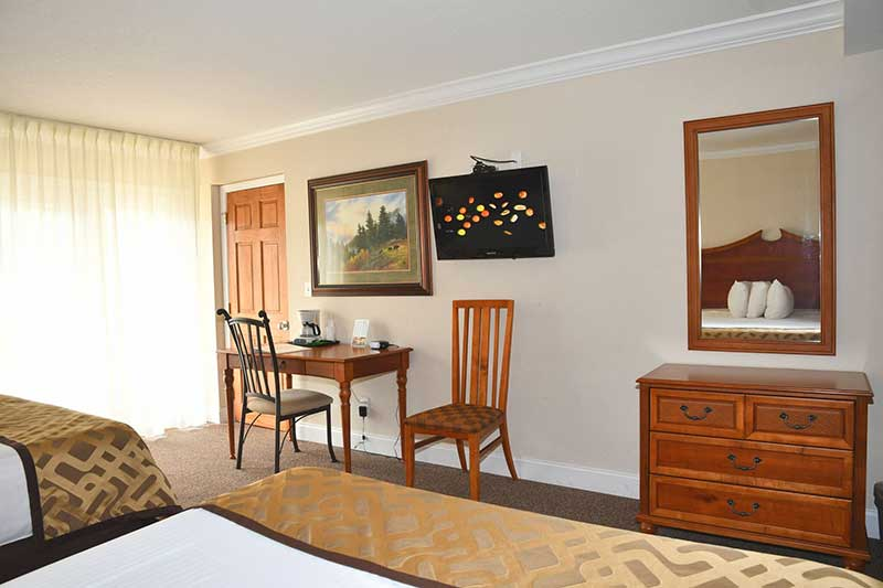 spacious hotel room with two beds in Gatlinburg Tn