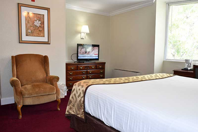 hotel room with king bed and TV at Reagan Inn