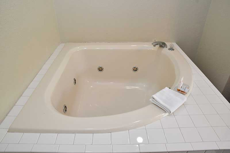Close up of jacuzzi tub in suite at Reagan Inn Gatlinburg Tennessee