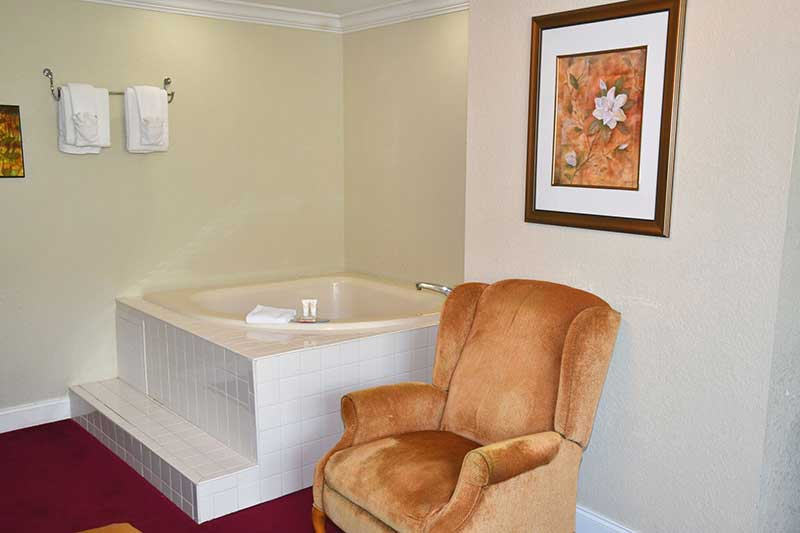 jacuzzi tub in hotel room at Reagan Inn