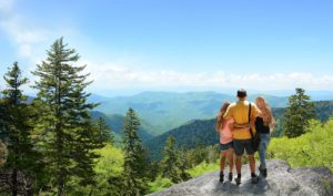 family hiking in the Smoky Mountains near Gatlinburg Tn
